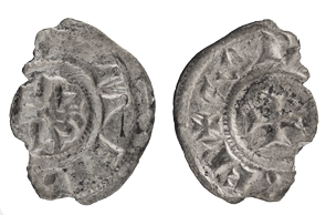 Fragment of a silver coin minted under Charlemagne; 793-812